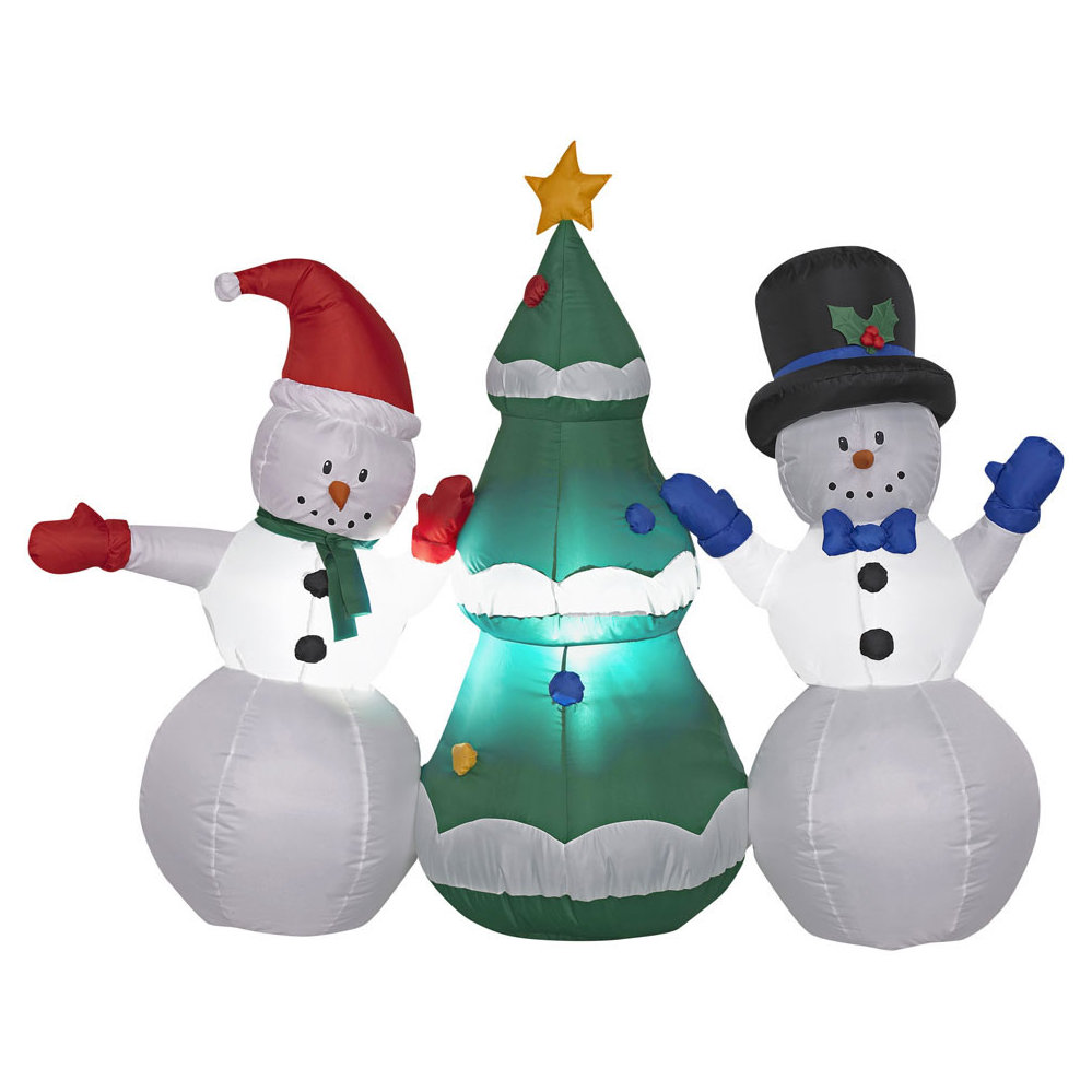 Airblown Snowmen With Tree