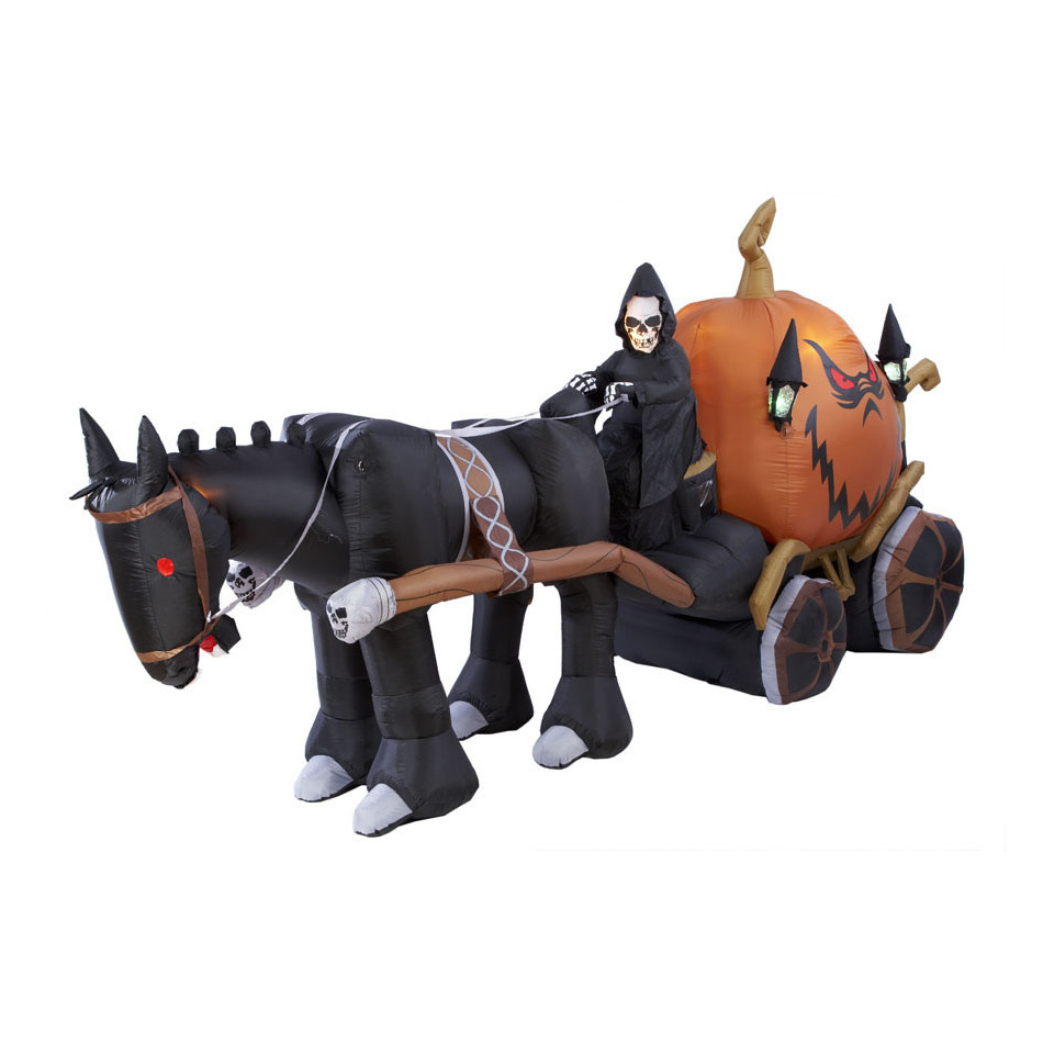 Animated Airblown Reaper Carriage With Horse