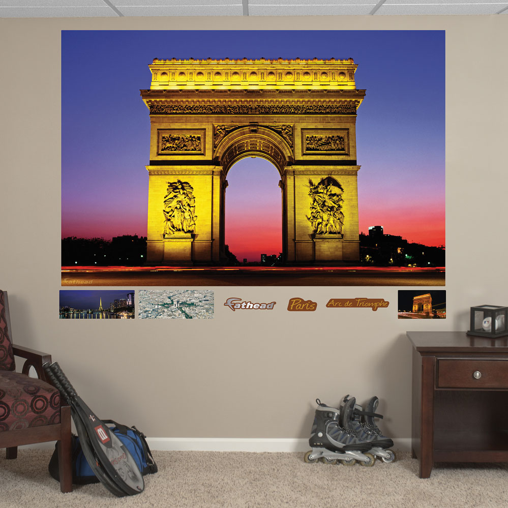 arc de triomphe at night mural realbig wall decal