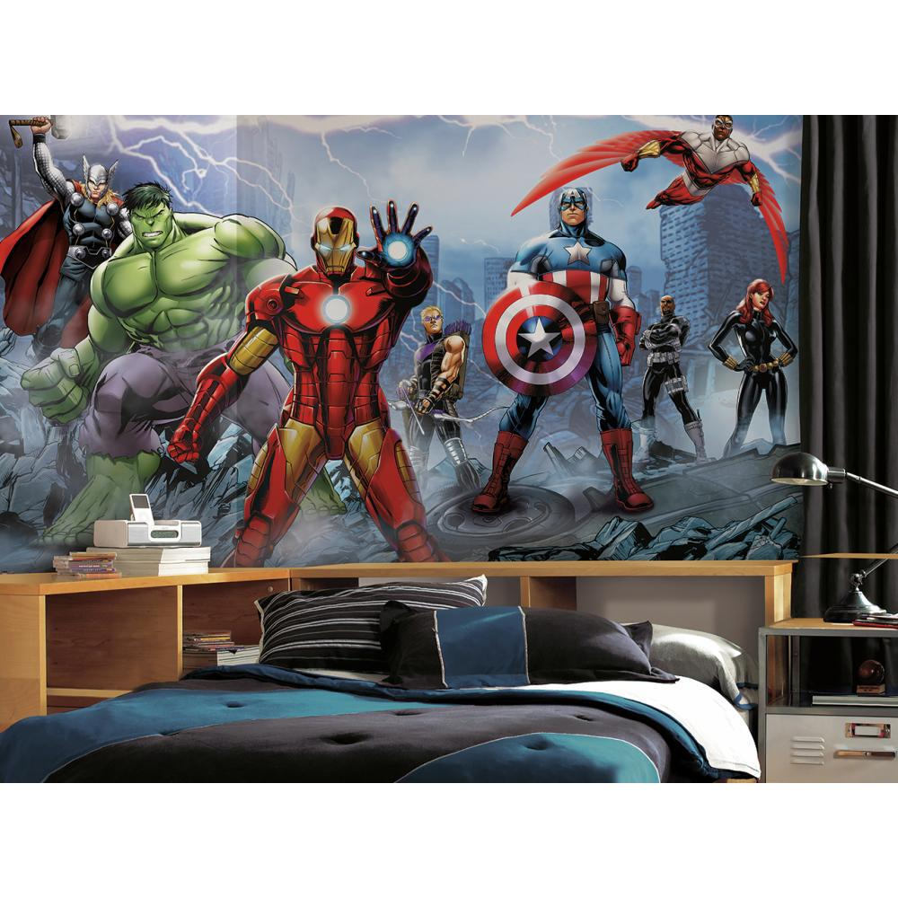 Avengers assemble mural for Decor mural wall art