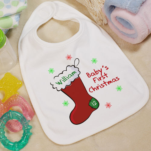 Baby's 1st Christmas Personalized Baby Bib With Stocking