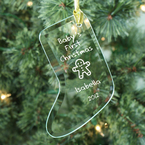 Babys 1st Personalized Glass Stocking Ornament