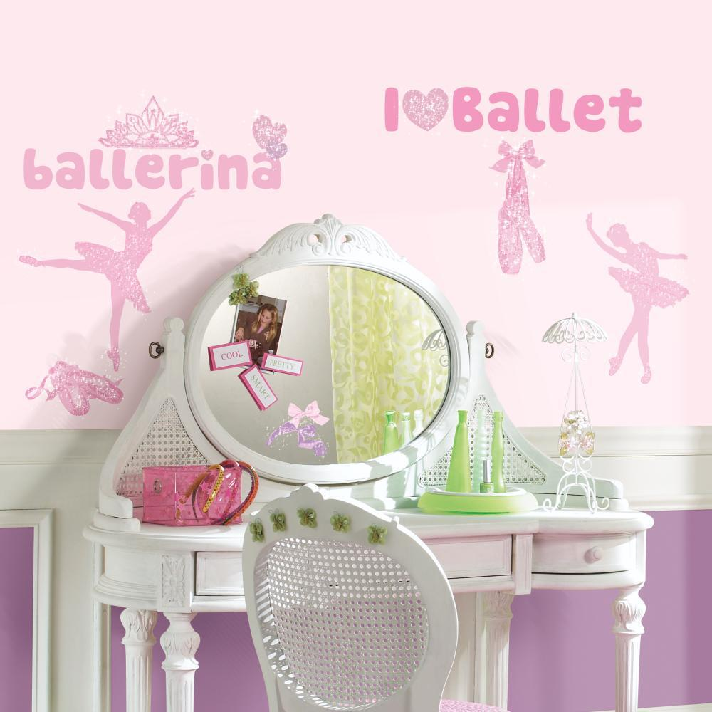 Ballet Peel And Stick Decal w-Glitter