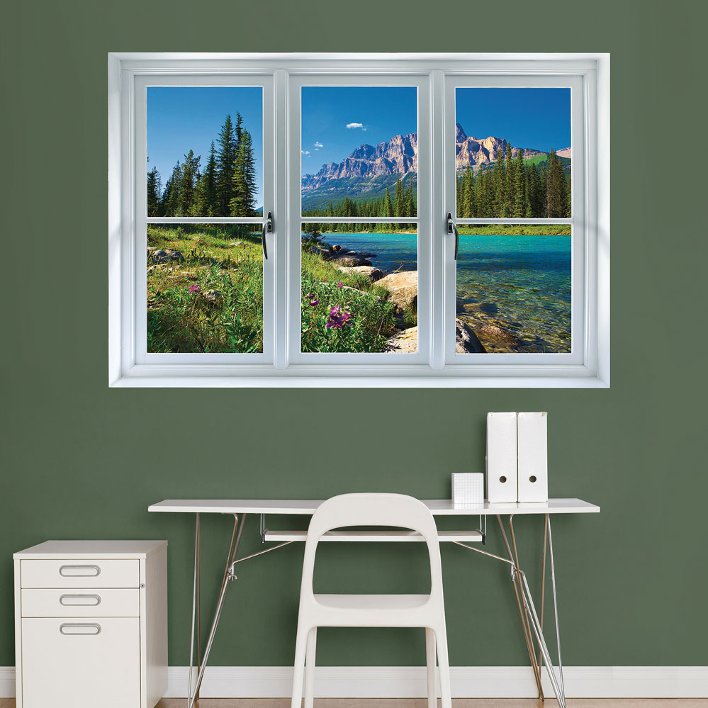 Banff Mountains in Bloom: Instant WindowWall Decal