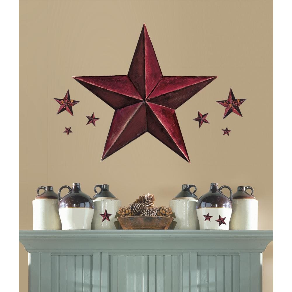 Barn Star Peel And Stick Giant Wal Decal-Burgundy