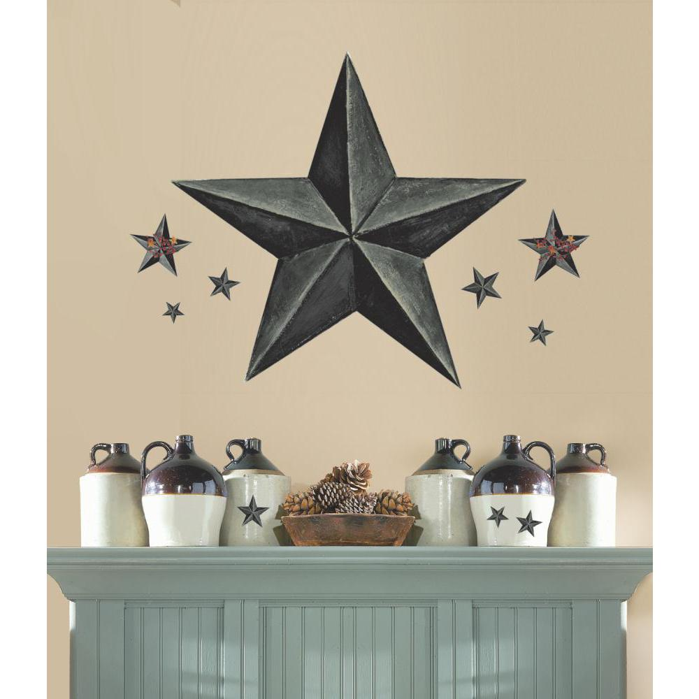 Barn Star Peel And Stick Giant Wal Decal-Slate
