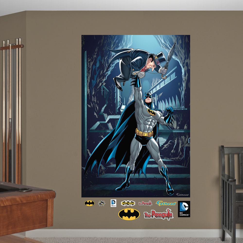 Batman and penguin mural realbig wall decal for Batman wall mural decal