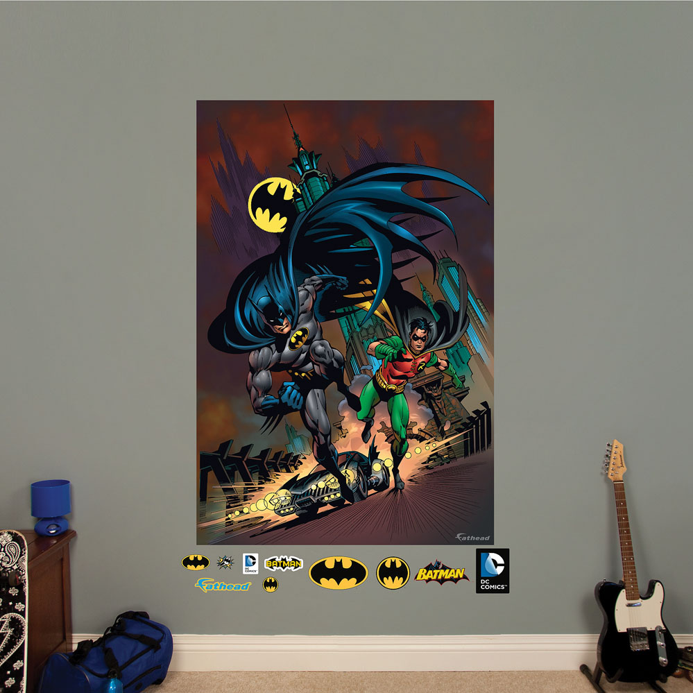 Batman and robin mural realbig wall decal for Batman wall mural