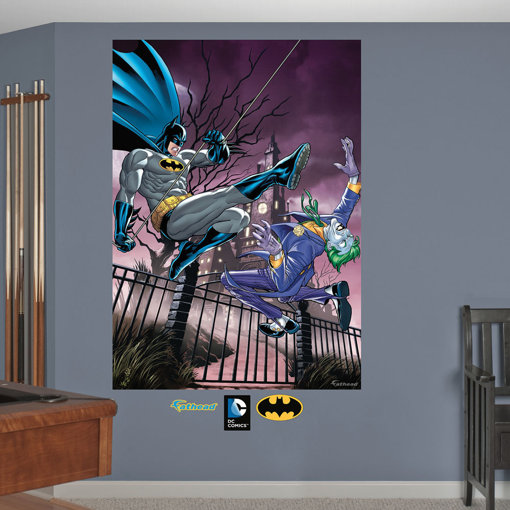 Batman and the joker battle mural wall decal for Batman wall mural