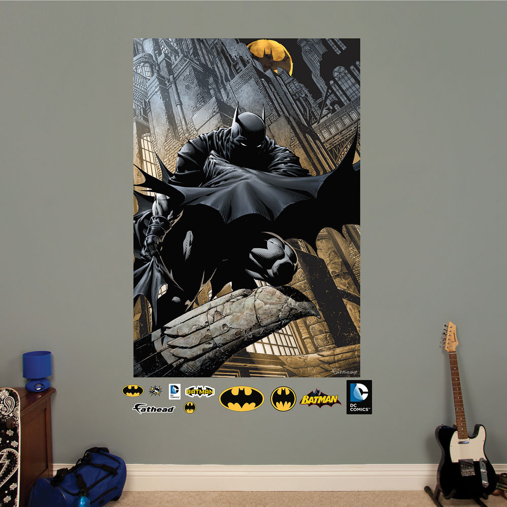 Batman shadows comic art mural realbig wall decal for Batman wall mural decal