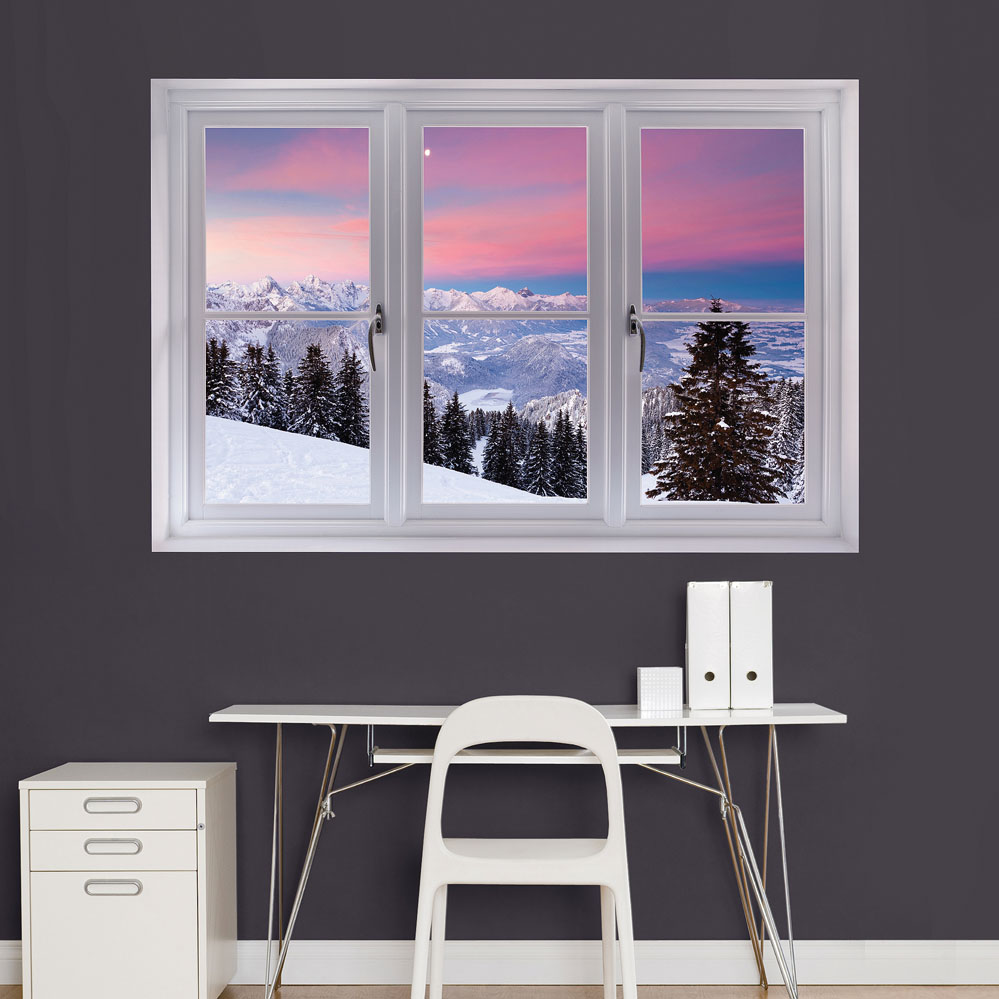 Bavarian Alps Winter Scene: Instant WindowDecal