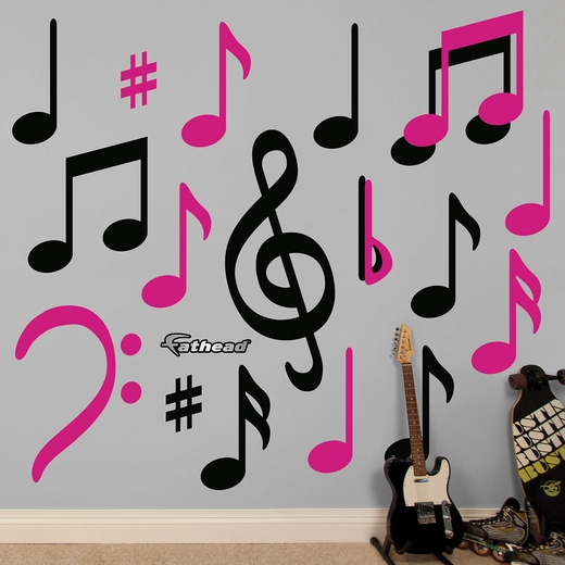 Black and Hot Pink Musical Notes Collection
