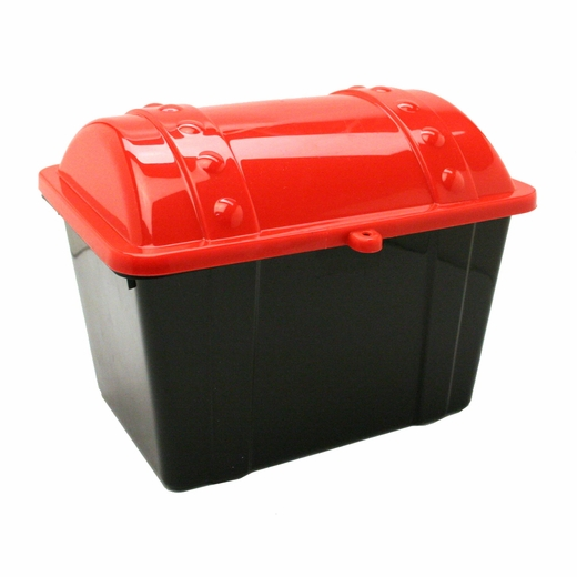 "7 1/2"" Black And Red Plastic Treasure Chest"