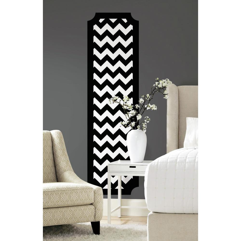 Black and White Chevron Deco Panel