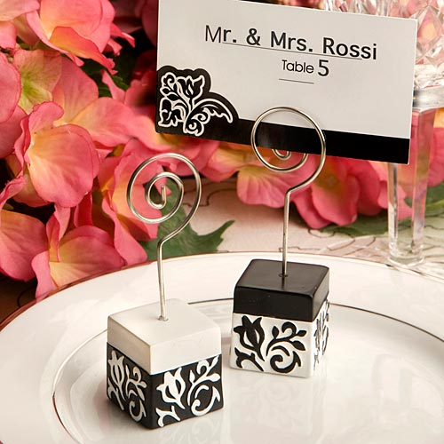 Black And White Damask Design Place Card Holders