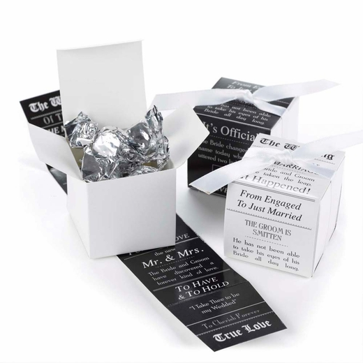 Black And White Reversible Announcement Wrap Boxes