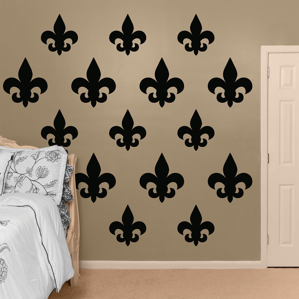 Black fleur de lis collection realbig wall decal Fleur de lis wall