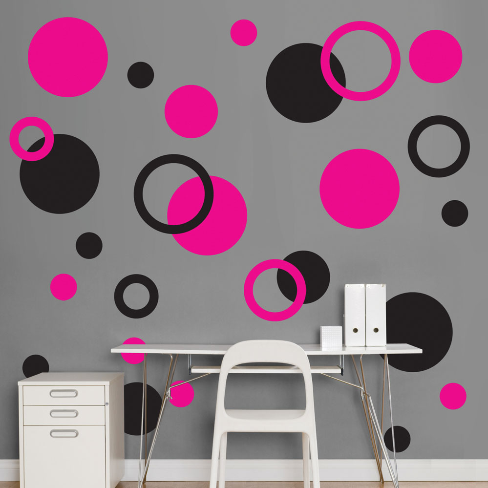 black and hot pink polka dots realbig wall decal