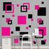 Black And Hot Pink Squares REALBIG Wall Decal