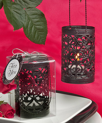 Black Metal Filigree Design Luminary Favor