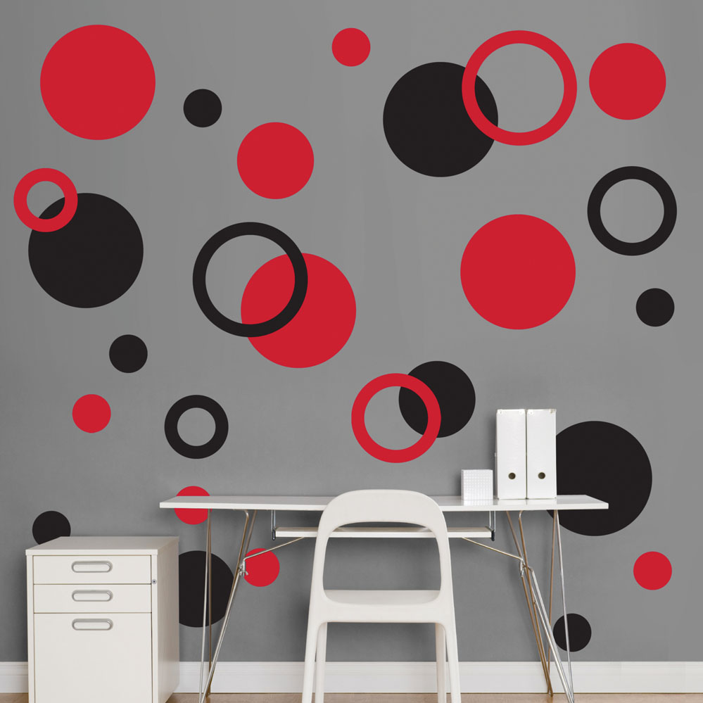 black and red polka dots realbig wall decal. Black Bedroom Furniture Sets. Home Design Ideas