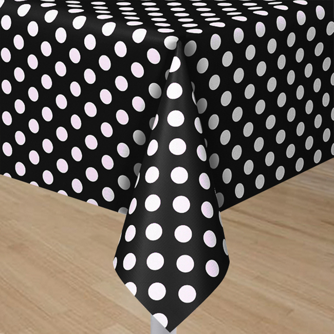 & Black Plastic Table Cover With White Polka Dots - Rectangle