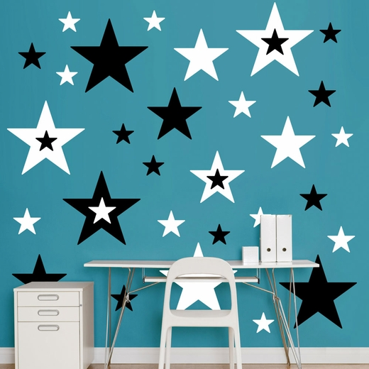Black And White Stars REALBIG Wall Decal