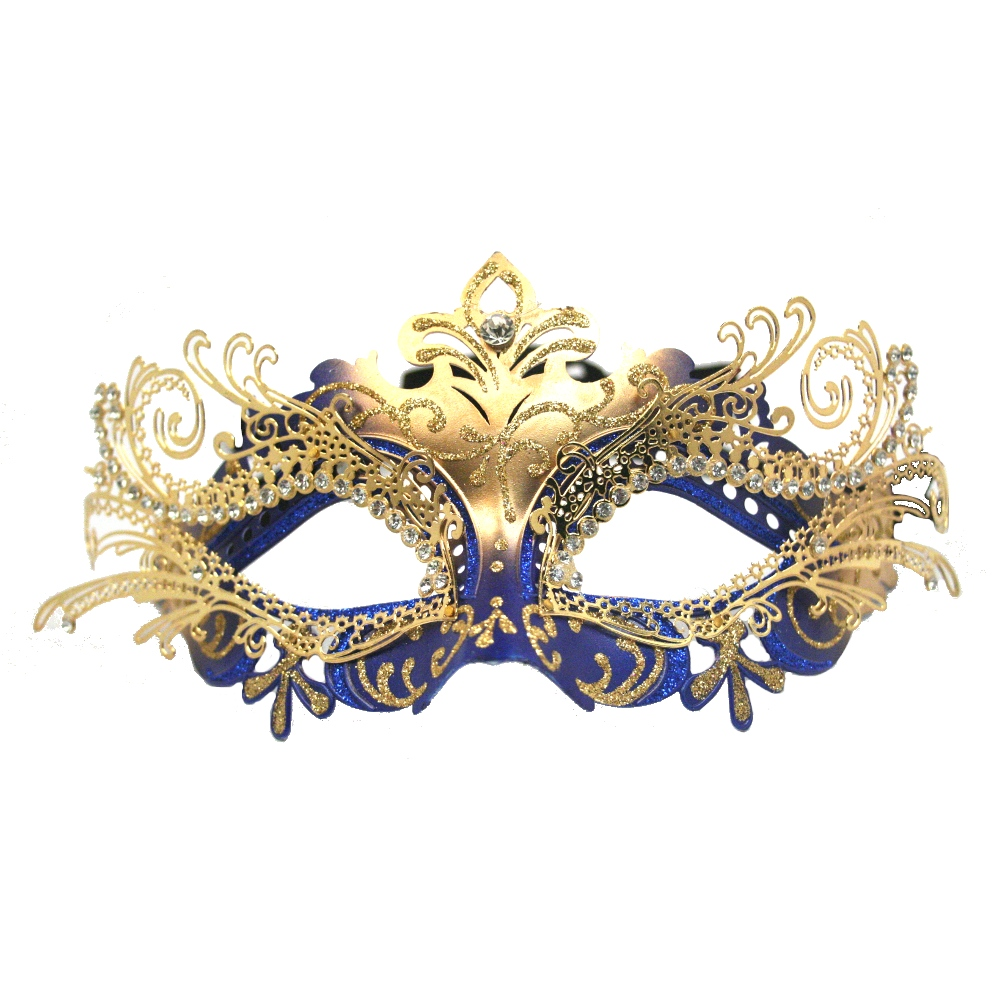 Blue Decorative Metal Venetian Half Mask
