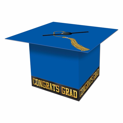 Blue Graduation Cap Card Box