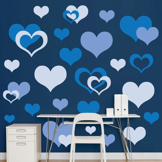 Blue Hearts REALBIG Wall Decal