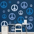 Blue Peace Signs REALBIG Wall Decal
