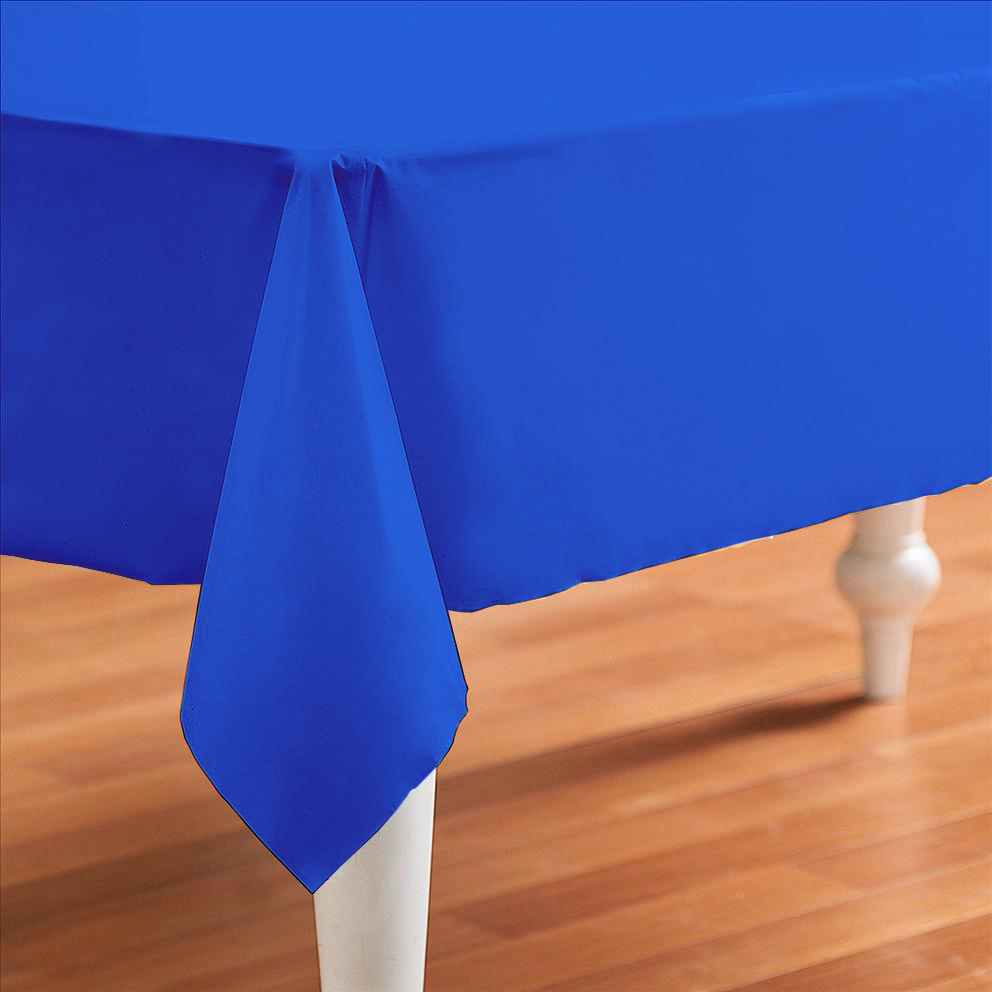 Blue Plastic Table Cover Rectangle