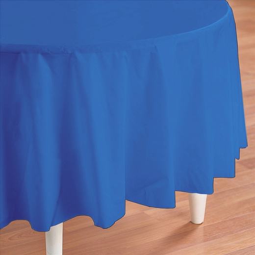 Blue Plastic Table Cover - Round