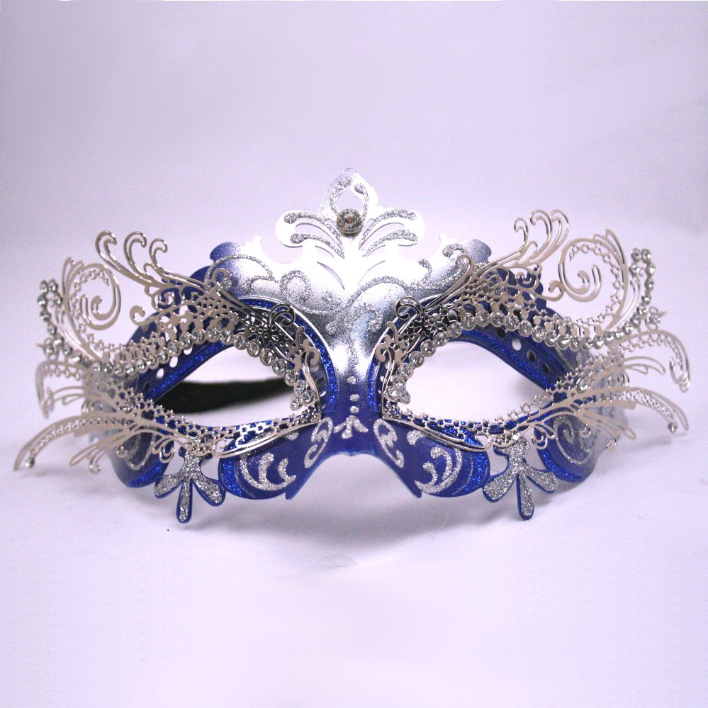 Blue And Silver Decorative Metal Venetian Mask