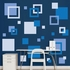 Blue Squares REALBIG Wall Decal
