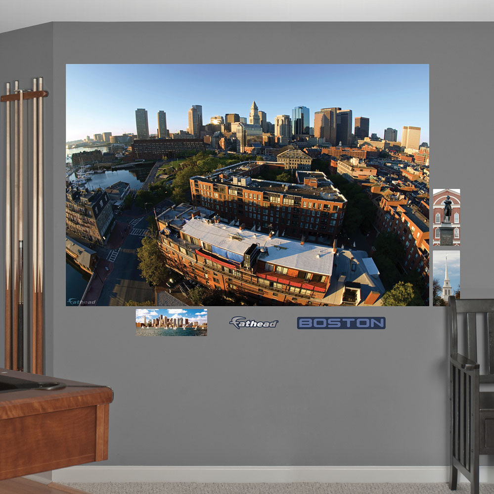 Boston skyline mural realbig wall decal for Boston wall mural