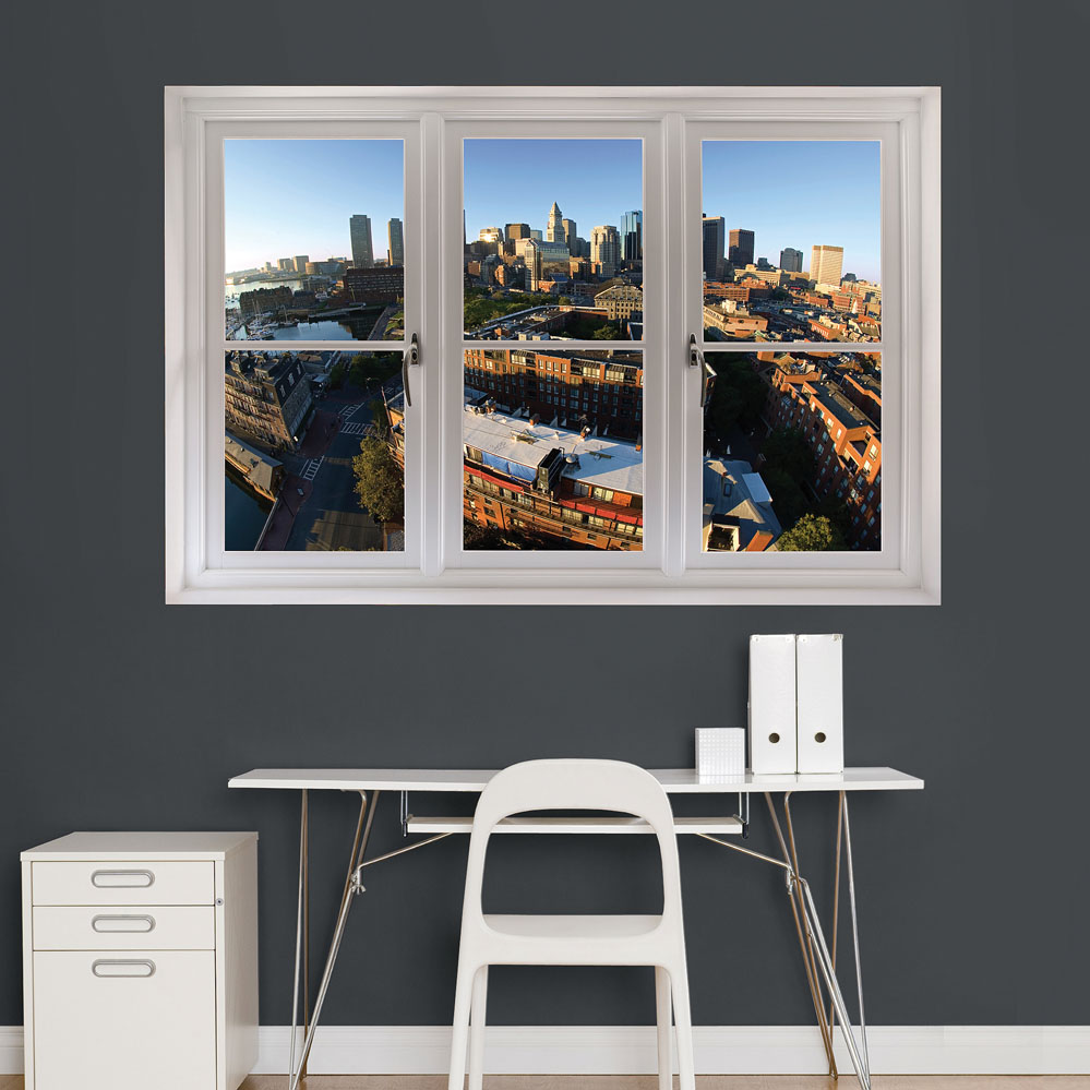 Boston Skyline Scenic Window REALBIG Wall Decal