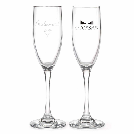 Bridesmaid And Groomsman Flutes With Tie