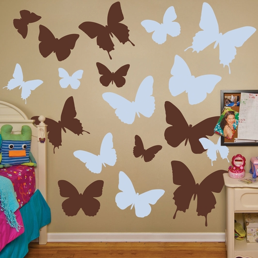 Brown And Light Blue Butterflies REALBIG Wall Decal