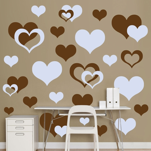 Brown And Light Blue Hearts REALBIG Wall Decal