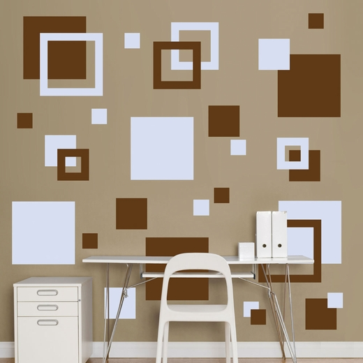 Brown And Light Blue Squares REALBIG Wall Decal