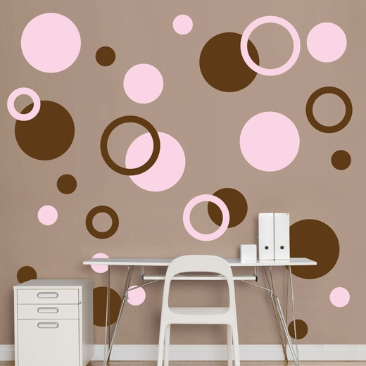 Brown And Pink Polka Dots REALBIG Wall Decal