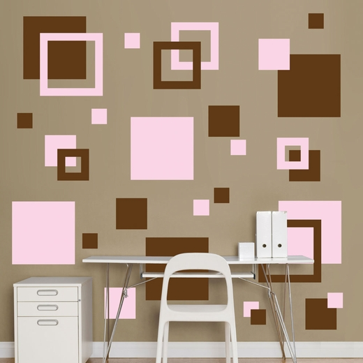 Brown And Pink Squares REALBIG Wall Decal