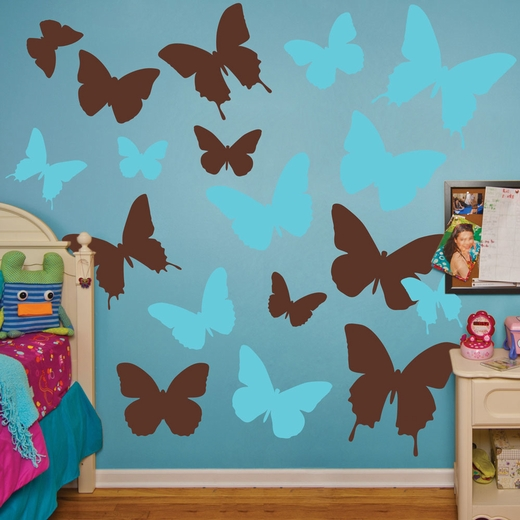Brown And Turquoise Butterflies REALBIG Wall Decal