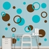 Brown And Turquoise Polka Dots REALBIG Wall Decal