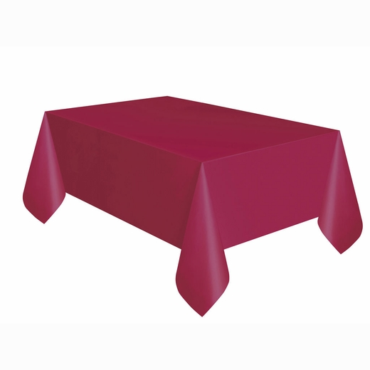Burgundy Plastic Table Cover - Rectangle