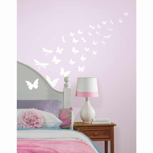Butterfly And Dragonfly Glow in the Dark Decal