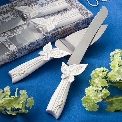 Butterfly Design Cake Knife Server Set