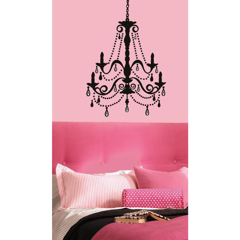 Wall Decorations Peel And Stick : Chandelier w gems peel and stick giant wall decal