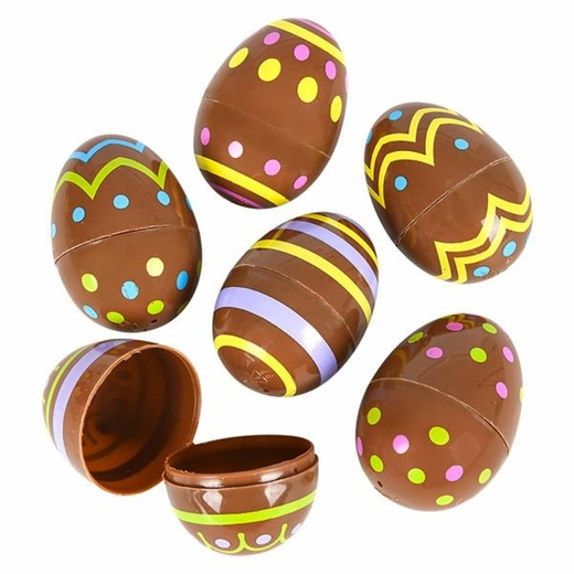 """Chocolate Candy Print Plastic Easter Eggs - 2 1/2"""""""